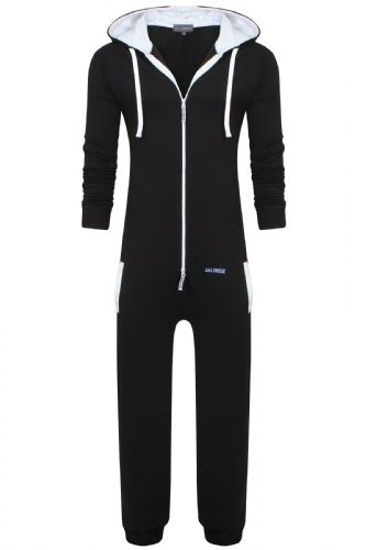Men's Unisex Black Brushed Fleece Zip Up Playsuit Jumpsuit All In One Hooded Onesie
